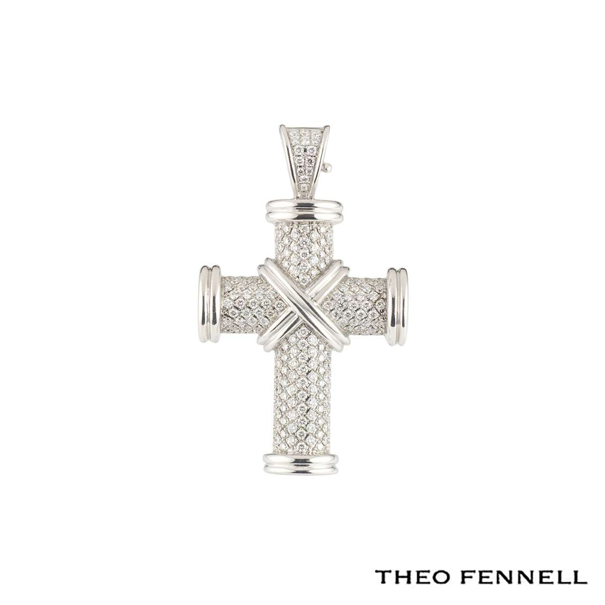Theo Fennell White Gold Diamond Crosses Pendant 1.28ct G/VS